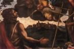 Particolare del quadro con la raffigurazione di Monte Santo Madonna Col Bambino tra i santi Giovanni Battista e San Sisto, fine Sec. IXVII - Chiesa di San Sisto - Monastero Benedettine di Santa Caterina in San Sisto a Potenza Picena - Foto Sergio Ceccotti.