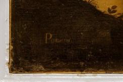 Firma Pomarance sul quadro San Nicola da Tolentino intercede per le anime del Purgatorio. Foto di Sergio Ceccotti.