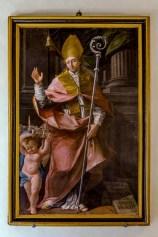 Sant'Emidio che protegge Monte Santo di Benedetto Biancolini - 1770 - olio su tela. Foto Sergio Ceccotti.