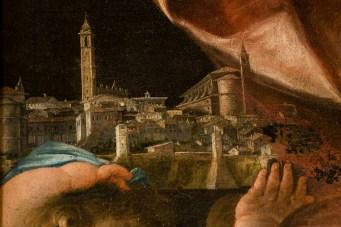 Particolare del Sant'Emidio che protegge Monte Santo di Benedetto Biancolini - 1770 - olio su tela. Foto Sergio Ceccotti