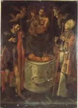 Madonna con Bambino e i Santi Rocco e Martino di Simone de Magistris 1584. Prima del restauro. Foto Bruno Grandinetti. Ufficio Economato.