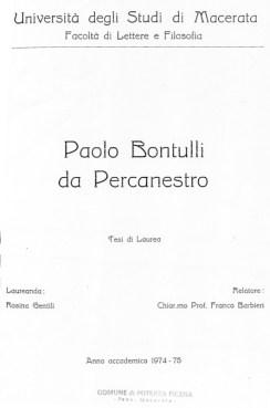 Copertina tesi di lauera di Rosina Gentili su Paolo Bontulli da Percanestro. Biblioteca Comunale Potenza Picena.