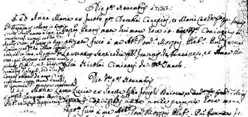 Nota sul ritrovamente del corpo di San Girio all'interno della Pieve di Santo Stefano nel 1720. Atti Battesimo del 1732 della Parrocchia di Santo Stefano. Archivio Parrocchia Santi Stefano e Giacomo.