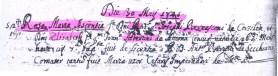 Atto di Battesimo della figlia di Pietro Bernasconi Rosa Maria Ascenzia del 30 maggio 1745. Archivio Storico Parrocchia dei Santi Stefano Giacomo.