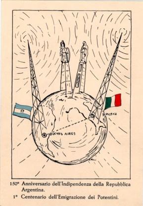 Cartolina commemorativa inaugurazione Piramide de Mayo. Fonte ASCPP.