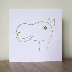 Greetings Card green camel Isabell Schulz