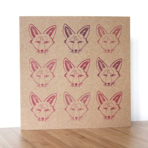 Greetings Card pink fox 3x3 Isabell Schulz