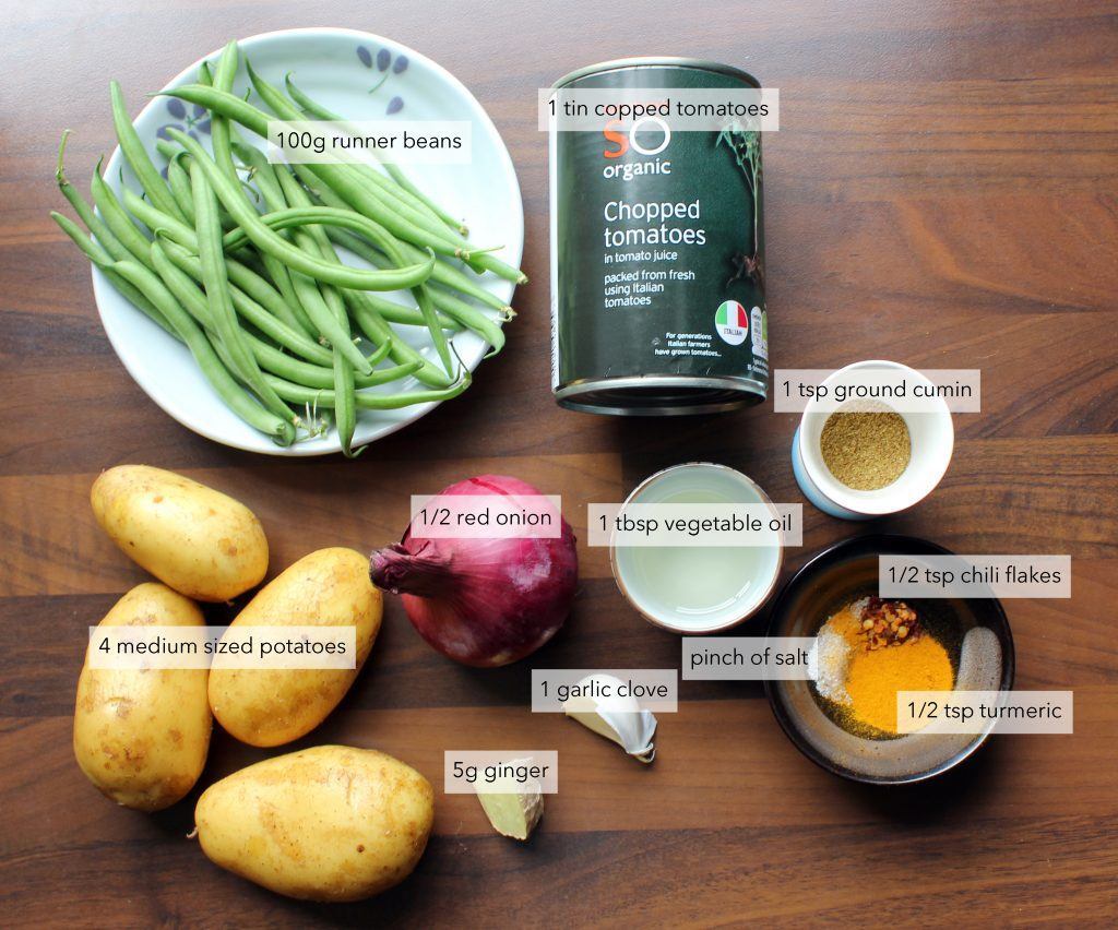 bean potato curry ingredients label plant-based recipe