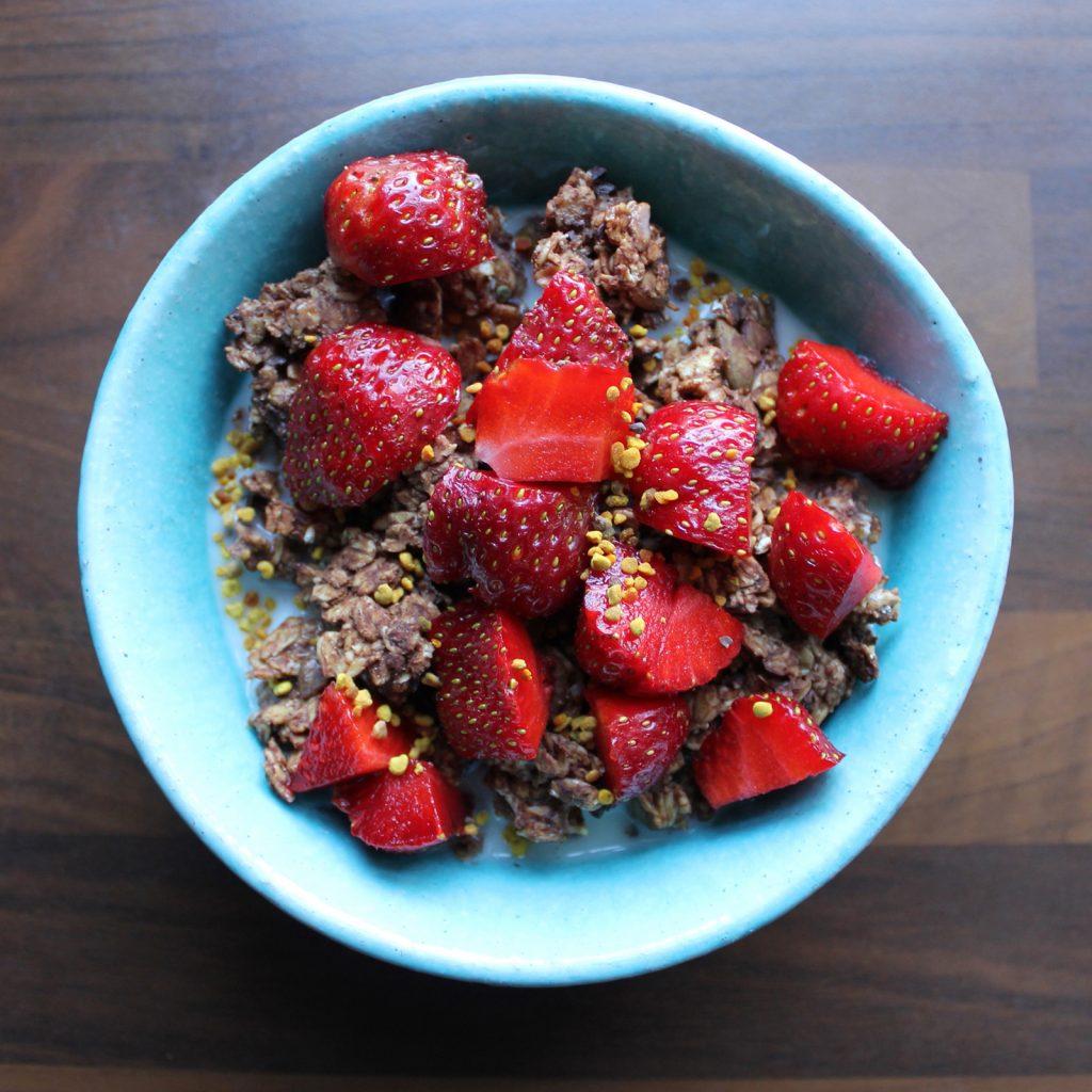 plant-based breakfast granola strawberries