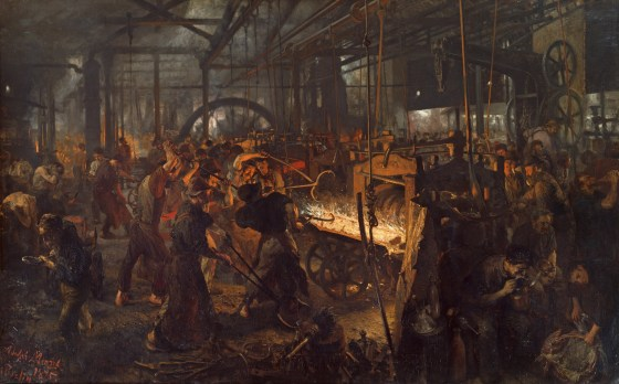 """The Iron Rolling Mill (Modern Cyclopes)"" by Adolph von Menzel, 1872 - 1875, National Gallery, Staatliche Museen zu Berlin"