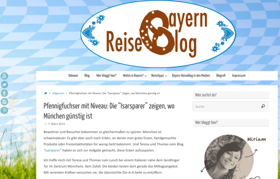 Screenshot Bayernreise-Blog