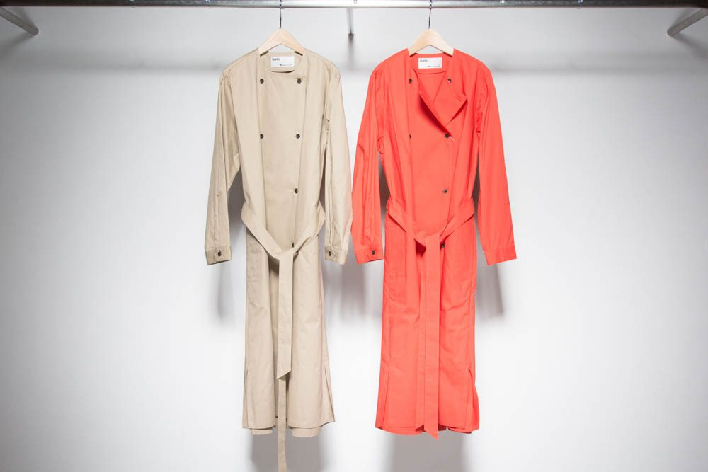 Trench-like shirt one-piece coat