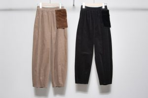 Volume pants / with fur pocket
