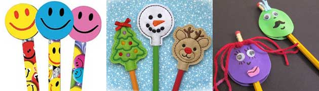 Pencil toppers: erasers, felt, paper.