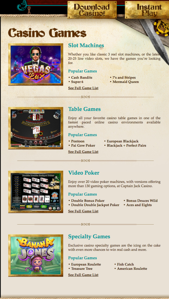 Captain Jack Casino Games
