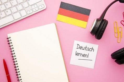 German flag and a list of requirements for studying in Germany