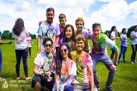 International students in University of Bristol celebrating Holi