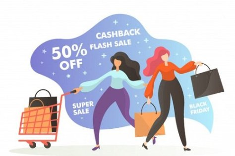 Girls shopping and saving money during sales