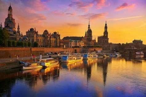 Dresden skyline and Elbe river in Saxony Germany