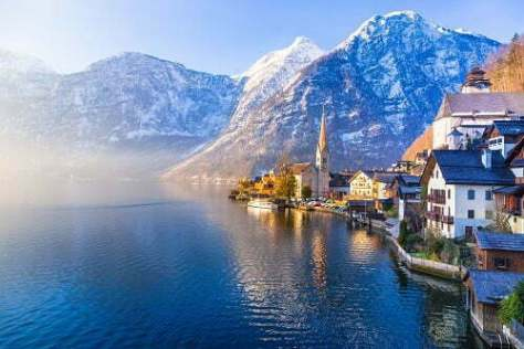 View of famous Hallstatt town with lake and mountains seen in on