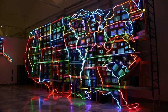 fluorescent light sculpture of the United States by Nam June Paik