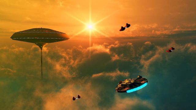 Cloud City and space ships