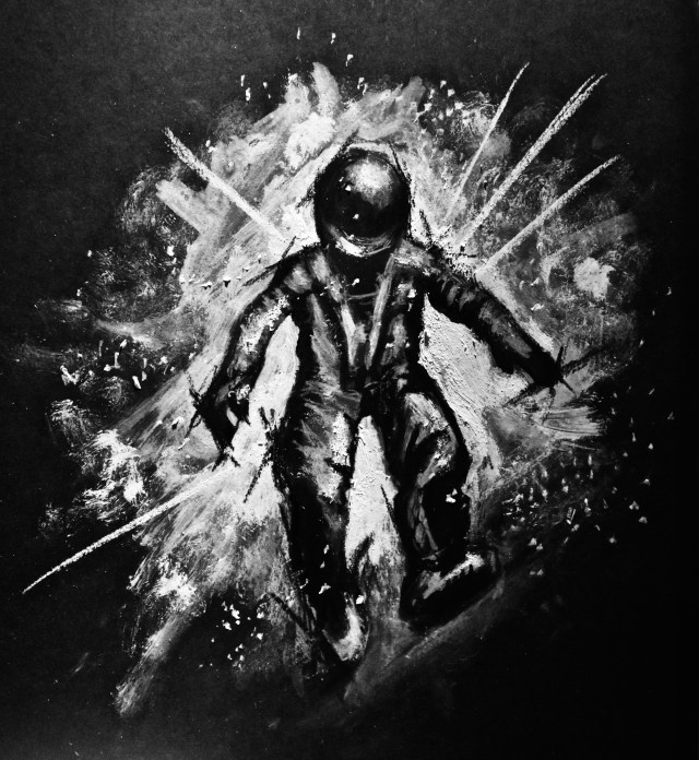 Charcoal black and white painting of an astronaut