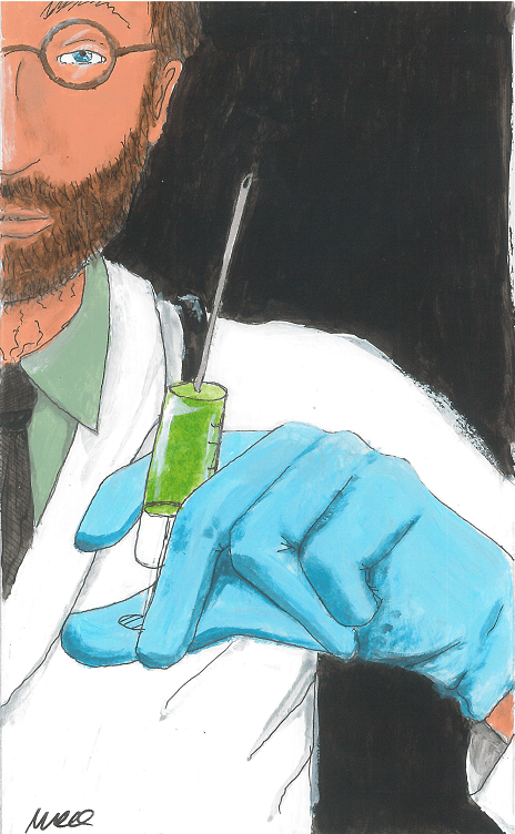 sketch of doctor with vaccine