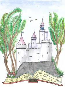 castle coming out of book