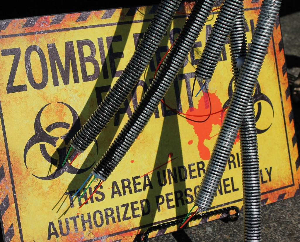 caution zombies sign
