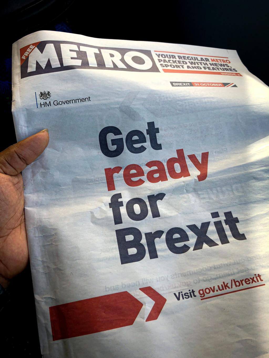"""front of metro newspaper with the government slogan: """"Get ready for Brexit"""""""