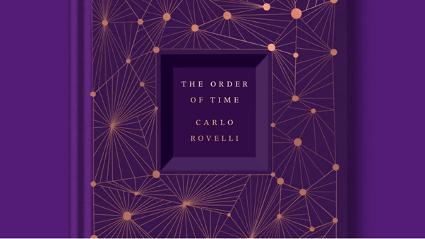 The Order of TIme purple book cover with gold nodes and gold title