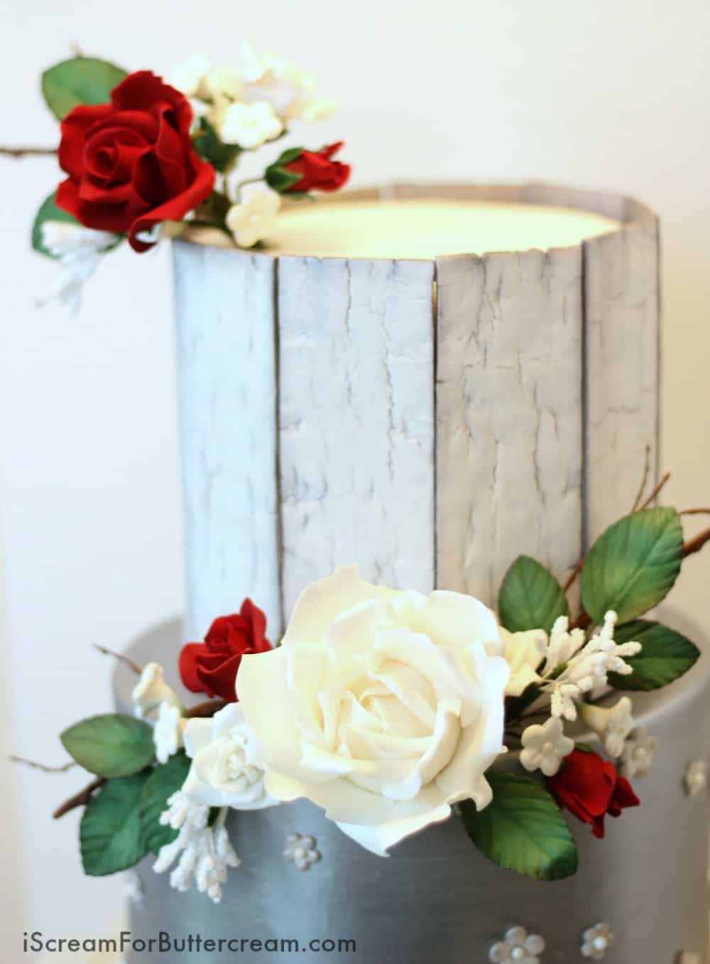 Elegant Rustic Silver Wedding Cake   I Scream for Buttercream Rustic Wedding Cake Top Tier