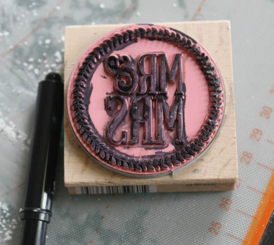 Adding the edible ink to the stamp