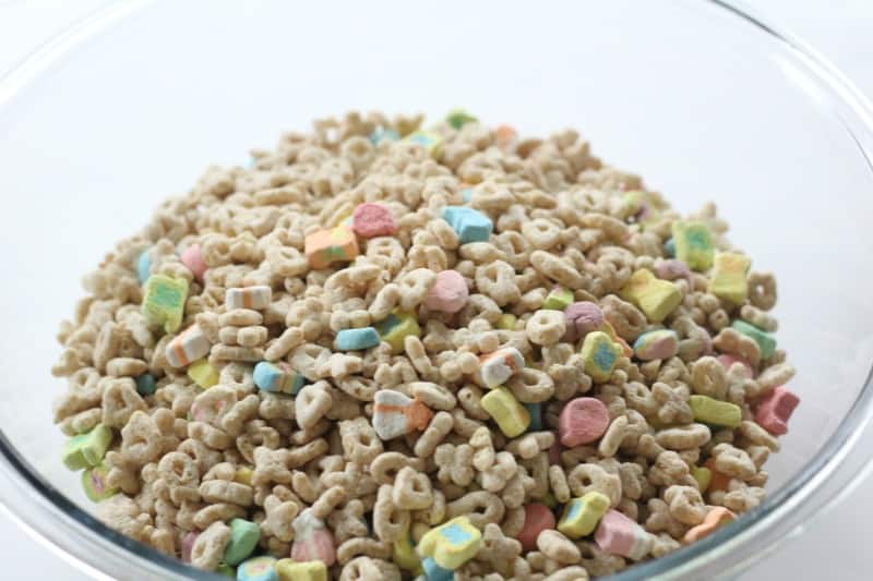 Lucky charms white chocolate cereal pops i scream for buttercream place cereal into mixing bowl for cereal pops ccuart Choice Image