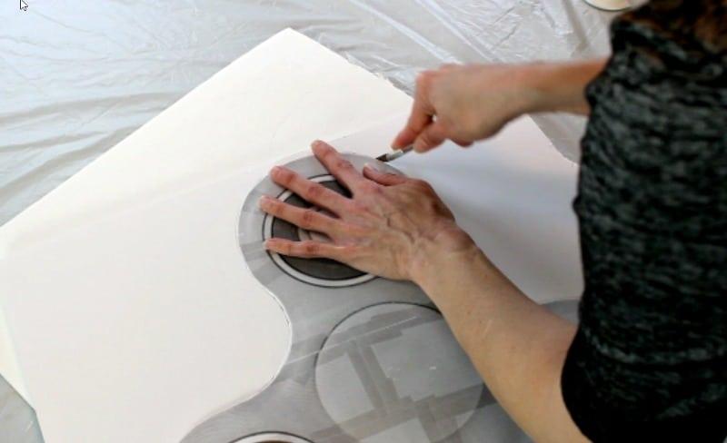 cutting around the fidget spinner template