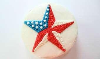 Easy Patriotic Buttercream Star Cake