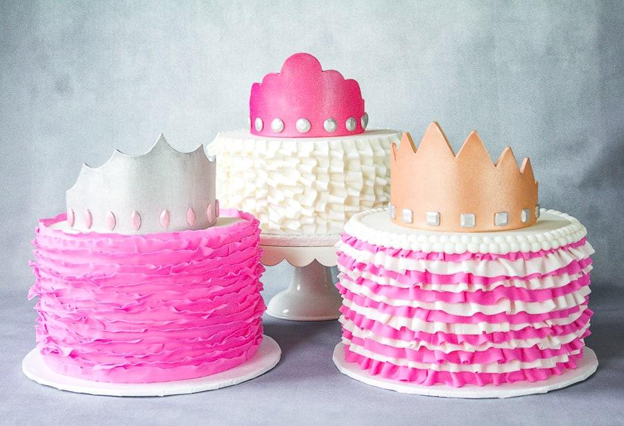 Fondant Ruffle Cakes with Gumpaste Crowns