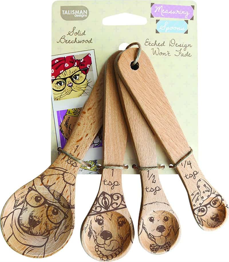 Wooden Dog Measuring Spoons