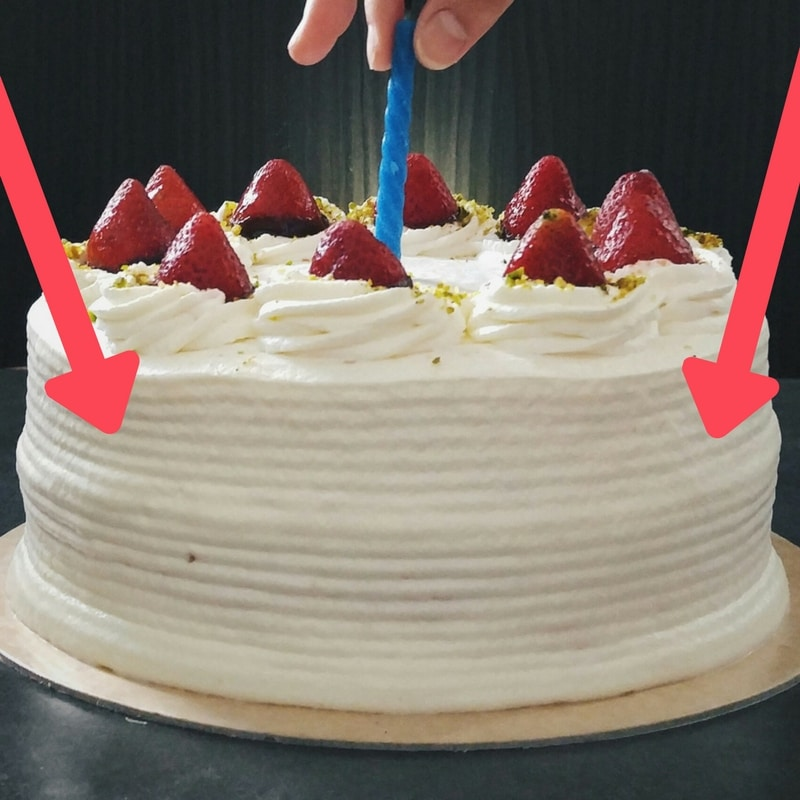 Cake with icing ridges