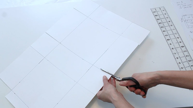 cut lines around rectangle on poster board