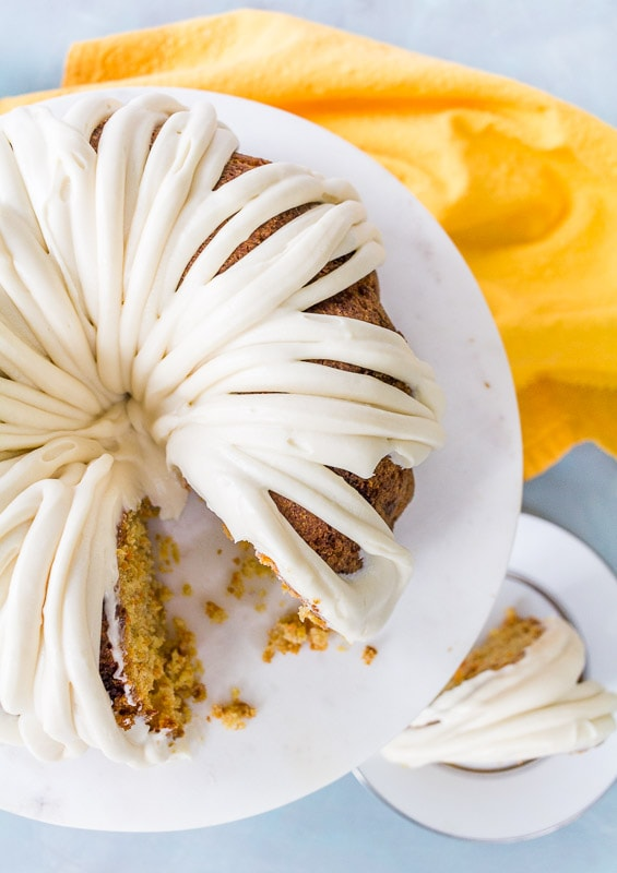 top down view of caramel carrot cake with glaze on top