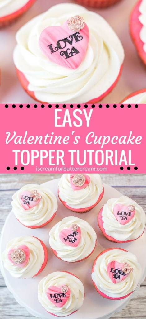 Easy Valentines Day cupcake topper tutorial piniterest graphic