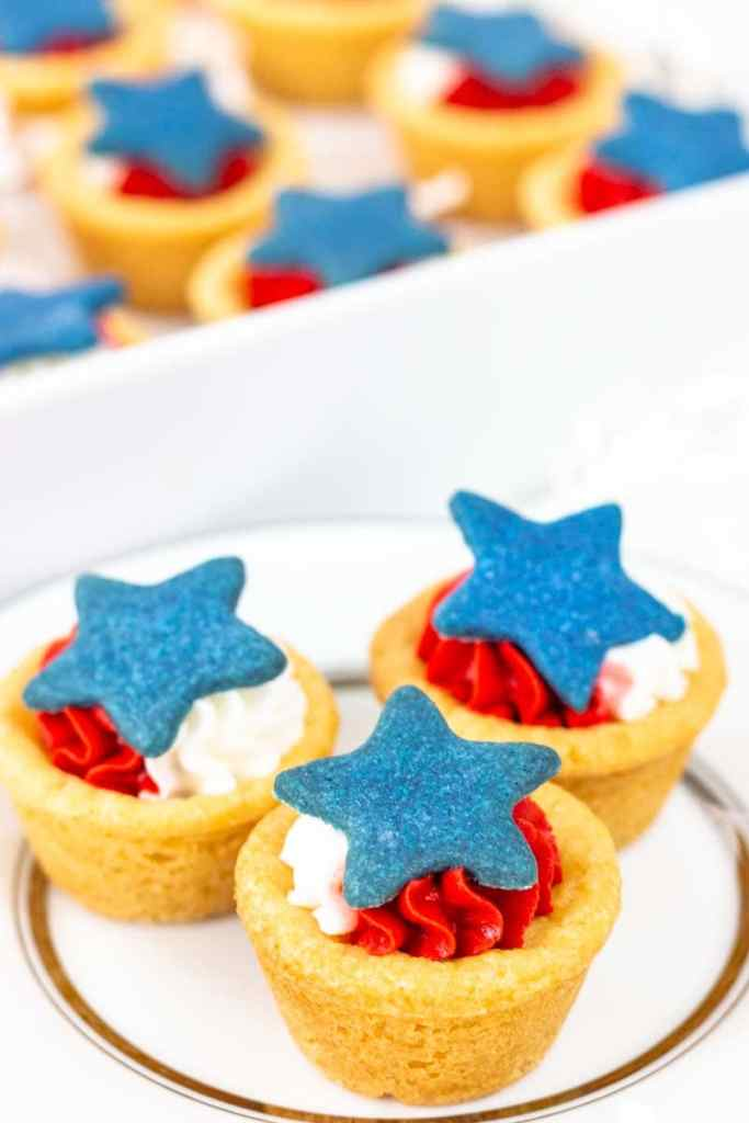Patriotic Cookie Cups on w white plate