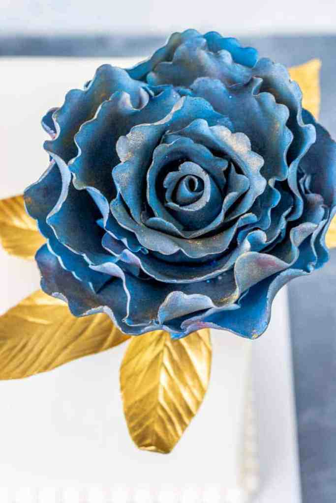 Ruffled Rose Gumpaste Fantasy Flower Top view