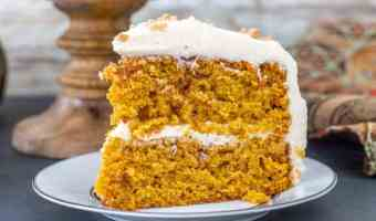 Pumpkin Toffee Crunch Cake with Cinnamon Cream Cheese Buttercream