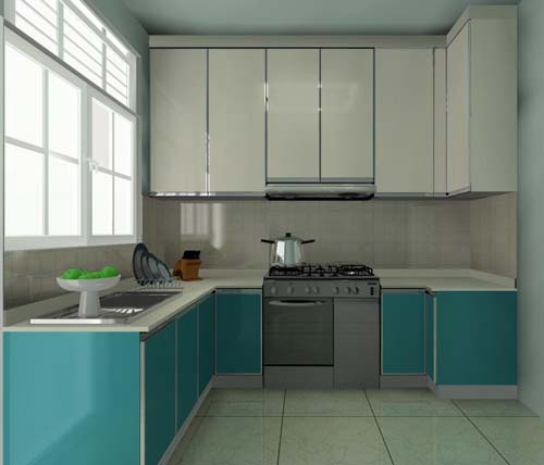 Blue And White U-Shaped Kitchen Cabinet