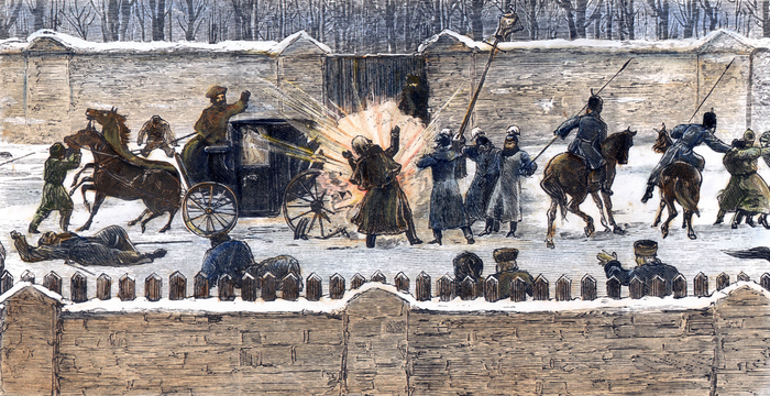 CZAR'S ASSASSINATION, 1881. The assassination of Czar Alexander II at the Catherine Canal in St. Petersburg, 13 March 1881: contemporary wood engraving.