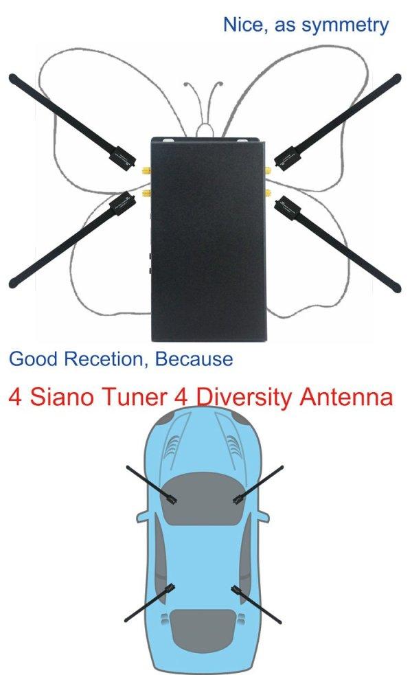 4 x 4 Siano Tuner Diversity Antenna Car dvb-t2 digital receiver 3 -