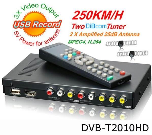 Car DVB-T Receiver MPEG4 H.264 2 tuner 2 diversity antenna Booster Recorder DVBT 2 -